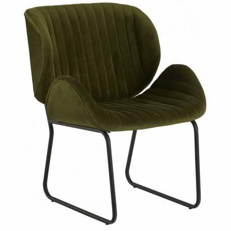 Fauteuil Tendance LUVANA Marque Hanjel Siège de Salon Design Chaise Moderne en Pin et Velours Vert Mousse 58x65,5x82,5cm