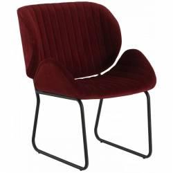 Fauteuil Tendance LUVANA Marque Hanjel Siège de Salon Design Chaise Moderne en Acier et Velours Burgandy 58x65,5x82,5cm