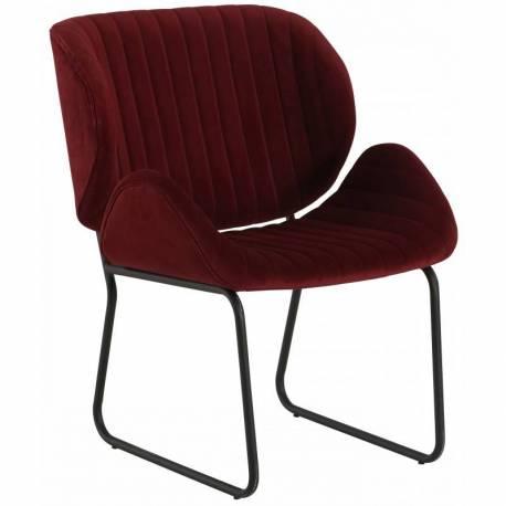 Fauteuil Tendance LUVANA Marque Hanjel Siège de Salon Design Chaise Moderne en Pin et Velours Burgandy 58x65,5x82,5cm