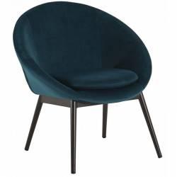 Fauteuil RUVANA Marque Hanjel Siège de Salon Chaise en Pin et Velours Bleu Canard 58,5x69x72cm