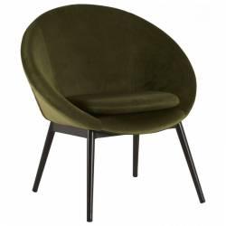 Fauteuil RUVANA Marque Hanjel Siège de Salon Chaise en Pin et Velours Vert Mousse 58,5x69x72cm