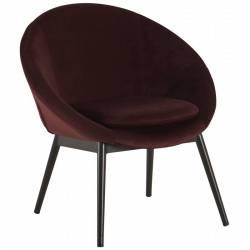 Fauteuil RUVANA Marque Hanjel Siège de Salon Chaise en Pin et Velours Burgandy 58,5x69x72cm