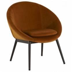 Fauteuil RUVANA Marque Hanjel Siège de Salon Chaise en Pin et Velours Gold 58,5x69x72cm