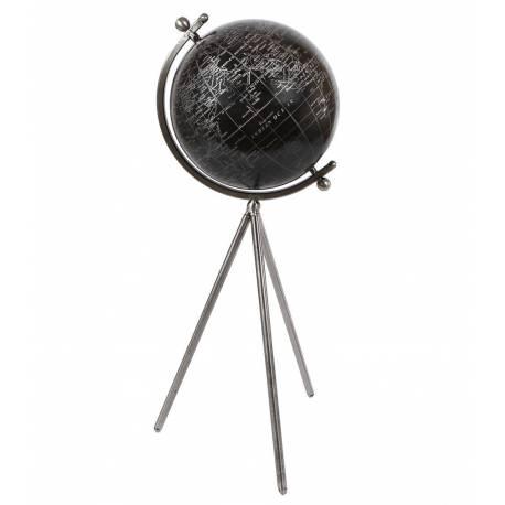 Grande Mappemonde Globe Terrestre Décoratif Rotatif Planisphère sur Trépied Carte Ronde Bois et Acier 25x25x60cm