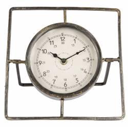 Horloge Ronde Pendule Vintage Cadre Carré Chiffres Arabes en Fer Patiné Gris et Vitre en Verre 10x20x22cm
