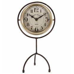 Horloge sur Pied Pendule à Poser Index Heure Chiffres Arabes en Fer Noir et Doré 6,5x16x30cm