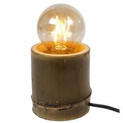 Lampe de Chevet Porte Ampoule de Table Lampe d'Appoint de Bureau Luminaire à Poser en Bambou 11x11x11,5cm