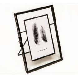 Cadre Photo Porte Photographie Cliché Portrait Prise de Vue à Poser en Fer Patiné Noir 8x14,5x18,5cm