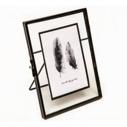 Cadre Photo Porte Photographie Cliché Portrait Prise de Vue Fer Patiné Noir 8x14,5x18,5cm