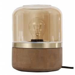 Luminaire d'Appoint Lampe Tendance de Chevet de Salon de Table à Poser en Bois Métal Patiné Laiton et Verre Ambré 15x15x18cm
