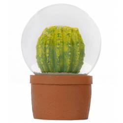 Boule de Neige Décorative à Poser en Résine et Verre avec Motif Cactus 8x8x12cm