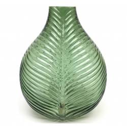 Superbe Vase Nature Porte Fleurs Décoration à Poser Motif Feuille Exotique en Verre Teinté Vert Pâle 19x28x36cm