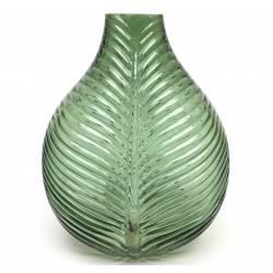 Superbe Vase Nature Porte Fleurs Décoration à Poser Motif Feuille Exotique en Verre Teinté Vert Pâle 31,5x24,5x16cm