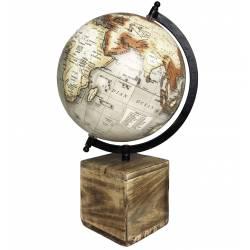 Grande et Jolie Mappemonde Globe Terrestre Décoratif Rotatif Planisphère sur Pied Carré Carte Ronde 21x21x36cm
