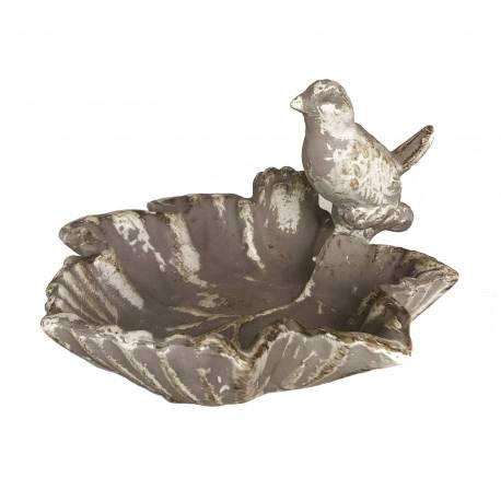Bain à Oiseaux Mangeoire à Oiseau Vide Poche Coupe Feuille Cendrier en Fonte Patinée Grise 9x14x14cm
