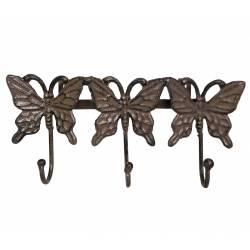 Patère Papillon Triple Murale Porte Vêtements Manteaux Torchons Serviettes à 3 Crochets en Fonte Marron 5x12,50x27cm