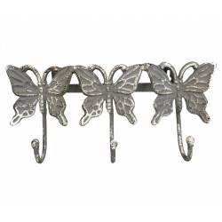 Patère Papillon Triple Murale Porte Vêtements Manteaux Torchons Serviettes à 3 Crochets en Fonte Grise 5x12,50x27cm