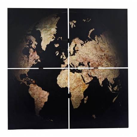 Ensemble de 4 Tableaux Cadres Bois Représentation de Mappemonde Murale Décoratif Vintage Rétro Noir 3x80x80cm