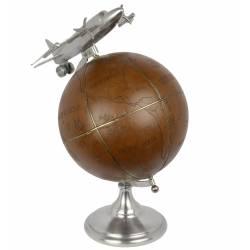 Grande Mappemonde Globe Terrestre Décoratif Rotatif Planisphère sur Socle Ronde en Métal et Cuir Motif Avion 43x43x55cm