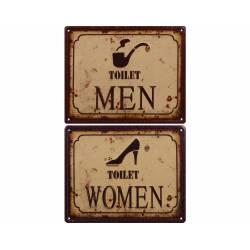 """Duo de Plaques Murales Décoratives de Forme Rectangulaire Cadre avec Inscription """"MEN"""" """"WOMEN"""" en Fer 0,2x20x25cm"""