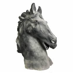 Statue de Cheval Tête ou Buste de Cheval Tête de Pilastre ou Colonne en Fonte Grise 19x37x48cm