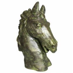 Statue de Cheval Tête ou Buste de Cheval Tête de Pilastre ou Colonne en Fonte Vert Antique 19x37x48cm