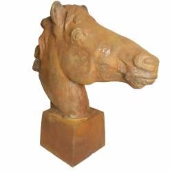 Grande Statue de Cheval Tête ou Buste de Cheval Tête de Pilastre ou Colonne en Fonte Rouillée 20x56x59cm