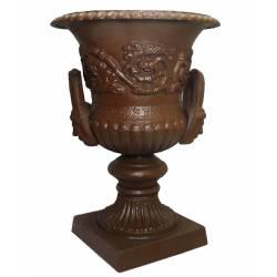 Vasque Décorée Vase Médicis Jardinière Pot de Fleur avec Anses en Fonte Marron 29x29x39cm