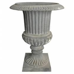 Vase Vasque Jardinière en Fonte Grise Style Richelieu Pot de Fleur 27x27x35cm