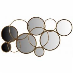 Sublime Miroir Anneaux Marque Athezza Multiples Glaces Reflets Forme Ronde Mural Design en Métal Doré 2x58x108cm