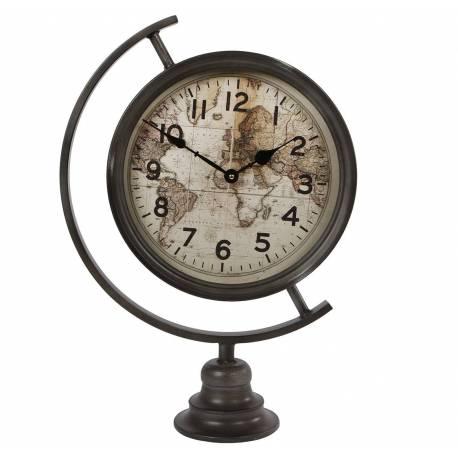 Grande Horloge sur Pied à Poser en Fer Patiné Gris Noir avec Vitre en Verre Pendule Thème Mappemonde Chiffres Arabes 13x35x51cm