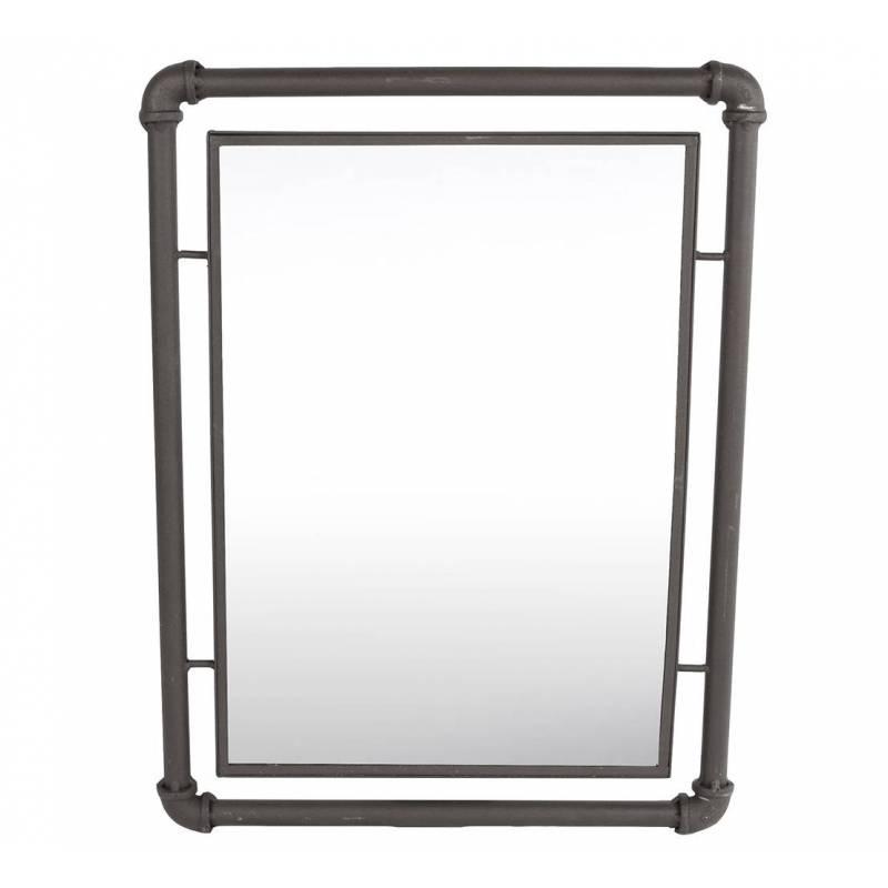 Miroir mural industriel glace rectangulaire en fer 2x41x55cm l 39 h ritier du temps for Glace rectangulaire