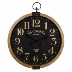 Grande Horloge Murale Géante Grande Pendule Ronde en Bois et Verre Fond Noir 6,5x50,5x64cm