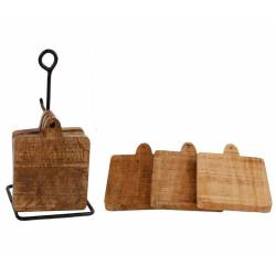 Lot de 6 Dessous de Verre Sous Bocks Carrés Décoratifs en Bois de Manguier et Présentoir en Fer Noir 1,5x9,5x12,5cm
