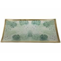 Plateau Plat en Verre Rectangle Desserte pour Mignardises ou Gâteaux Sous Tasse Motifs Tropicaux 1x10,5x21,5cm