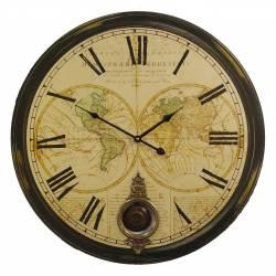 Horloge Murale de Salon en Bois Pendule à Balancier de Cuisine Mappemonde 4x58x58cm