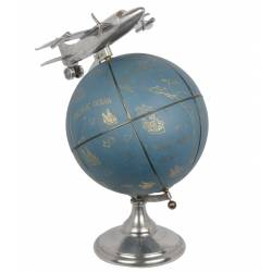 Grande Mappemonde Globe Terrestre Décoratif Rotatif Planisphère sur Socle Ronde en Métal et Cuir Bleu Motif Avion 43x43x55cm
