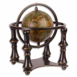 Mappemonde Globe Terrestre Décoratif Rotatif Planisphère Base Ronde en Métal et Cuir Marron Bronze 30x30x31,50cm