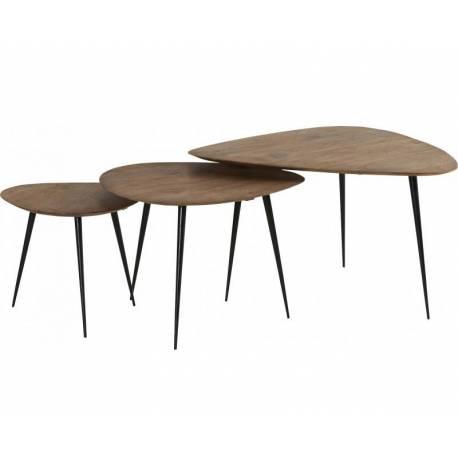 Lot de 3 Tables Basses Sofia Marque Hanjel Consoles Dessertes Gigognes Triangulaires Acacia Naturel et Fer Noir