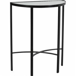 Console Demi Sphère CIRCUS de la Marque Hanjel Guéridon Table d'Appoint Sellette en Métal Noir et Verre 30,5x60,5x74cm