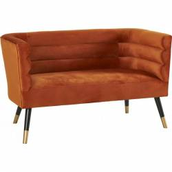 Canapé Rivoli Marque Hanjel Fauteuil Art Déco 2 Personnes Velours Orange Brulé 71x76x130cm