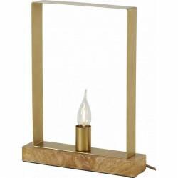 Lampe RUBAN Rectangle à Poser Luminaire de Table Athezza en Métal et Bois 7x25x38cm