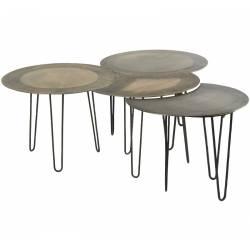 Table Basse Modulable RIVOLI S/4 Guéridon Hanjel Consoles et Bouts de Canapé en Acier 44x99x104cm