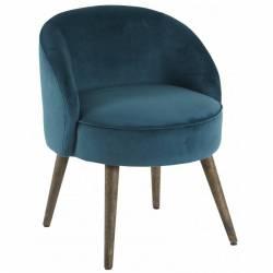 Fauteuil de Salon Honoré Chaise Basse Hanjel en Velours Bleu Canard 54x54x64cm