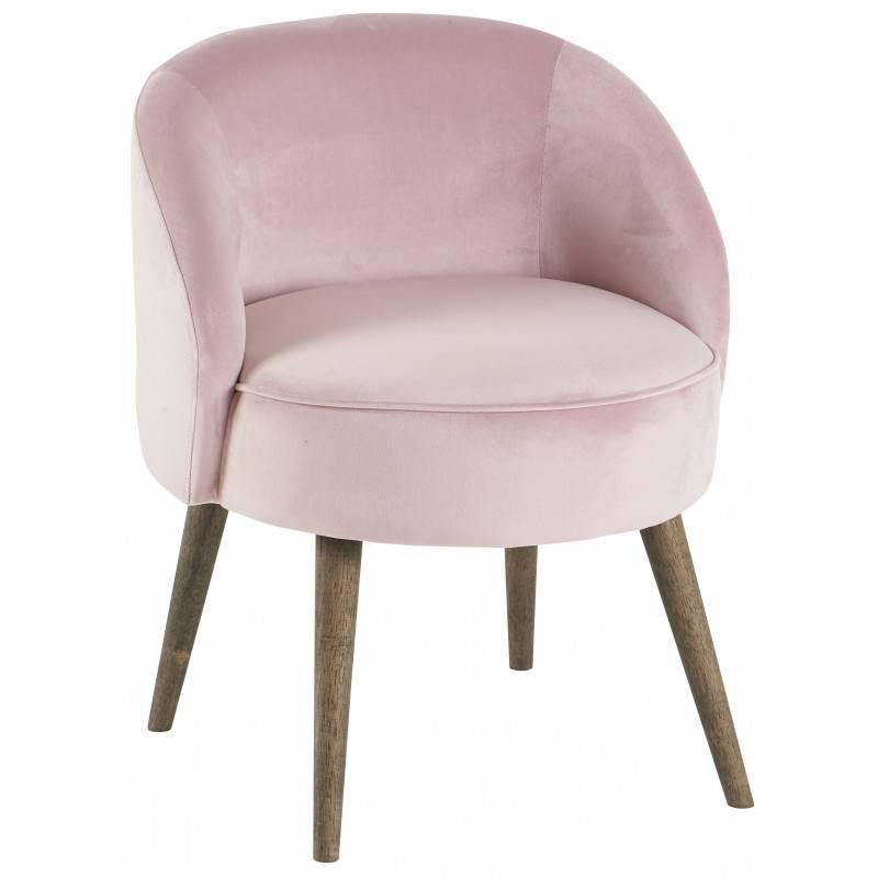 Fauteuil de salon honor chaise basse hanjel en velours rose poudr 54x54x64cm l 39 h ritier du temps - Salon rose poudre ...