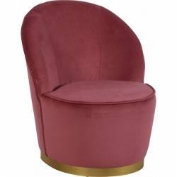 Fauteuil Venise Chaise de Salon Hanjel en Velours Bordeaux et Métal Doré 58x58x69cm