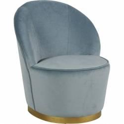 Fauteuil Venise Chaise de Salon Hanjel en Velours Bleu Pétrole et Métal Doré 58x58x69cm