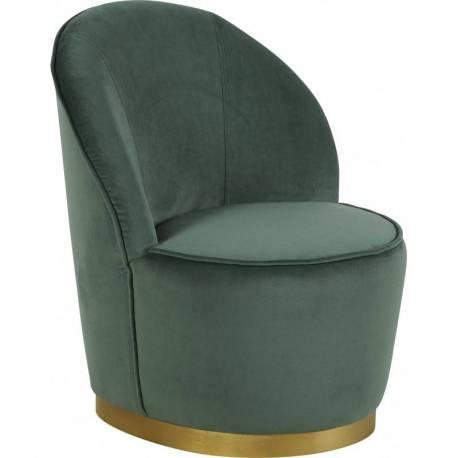 Fauteuil Venise Chaise de Salon Hanjel en Velours Vert de Gris et Métal  Doré 58x58x69cm