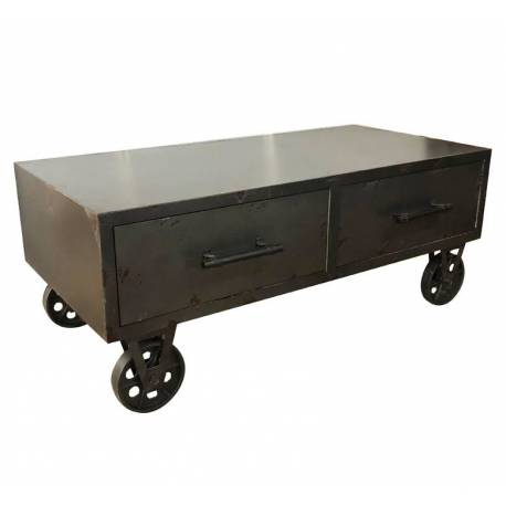 Table Basse Ferwood Console de Salon Industriel en Acier 40x48x100cm