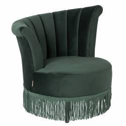 Fauteuil Lounge Flair Marque Dutchbone Style Vintage Franges en Velours Vert Empire 85x88x95cm